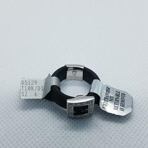 NWT 18kt White Gold Diamond Black Rubber Ring